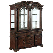 Newtraditional European Antique Brown China Cabinet Hutch Buffet With Lighting