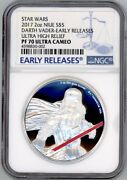 Darth Vader Star Wars 2017 Niue 2oz Silver Coin 5 Ngc Early Releases Pf 70