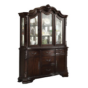 Newandnbsptraditional European Antique Brown China Cabinet Hutch Buffet With Lighting