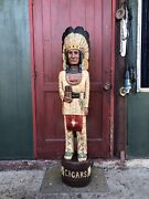 John Gallagher Carved Wooden Cigar Store Indian 5 Ft.tall Statue Very Detailed