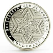 Turkey 50 Lira Traditional Turkish Handcrafts Woodworking Proof Silver Coin 2013