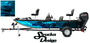 Trout Fishing Bass Fish Boat Black Cyan Skeletons Vinyl Decal Graphic Wrap Us