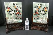 Old Estate Matched Pair Chinese Jade Mix Stone Serpentine Table Screens Large