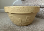 """Antique Yellow Ware Stoneware Usa Girl And Watering Can Yellow Mixing Bowl 10"""""""