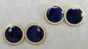 Classic French Hallmark 18k Gold Enameled Royal Blue And White Cufflinks
