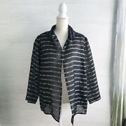 Nuno Japan - Black Sheer Woven Silk And Japanese Paper Jacket One Size