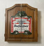 Budweiser Frogs Dartboard Cabinet With Dartboard Rare Discontinued Vintage 1996