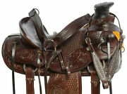 Leather Western A Fork Wade Tree Roping Ranch Horse Saddle Full Set