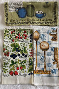 Lot Of 3 Vtg Linen Tea Towels Kay Dee Luther Travis Recipe And Farmhouse Kitchen