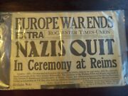 Historic Actual Wwii Newspaper Front Page  Nazis Quit May 7,1945