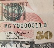 50 Dollar Bill Us Currency Unique Fancy Rare Serial Number Lucky Craps Bill