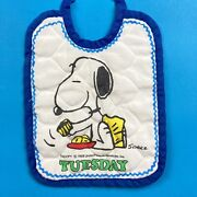 Vintage Snoopy Baby Bib Tuesday Fabric Peanuts Characters 1958 Schulz