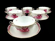 Herend Chinese Bouquet Raspberry Soup Cups With Saucers 6 Pcs.