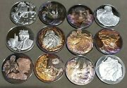 The Bible History Of The Jewish People. Lot Of 12 -925 Silver Pf Dcam Medals.