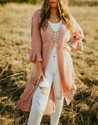 Umgee Long Length Dusty Mauve Kimono With Bell Sleeves And Crochet Details Nwt