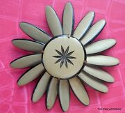 Rare Vintage Flower Pinbroochtaupe And Black Petalscostume Jewelrycollectible