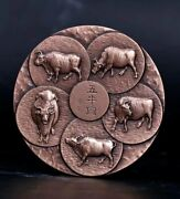 China 90mm Copper Medal - Ox Lunar Year - Ancient Chinese Paintings Five Oxen