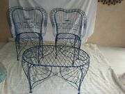 Vintage By Salterini Ornate Wire Blue Patio Set Of 3