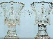Antique Glass Candle Holder Set Pair Of Two - Murano Glass Bowl Oil Lamp Burner