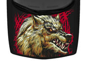 Grey Wolf Head Illustrated Scratched Truck Hood Wrap Vinyl Car Graphic Decal