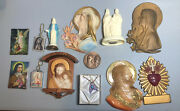 Lot Of 13 Vintage Catholic Religion Items Chain Pendant Wall Plaques Jesus Mary