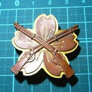 Military Antique Japanese Army Medal Pin Badge Shooting Cherry Blossoms Japan