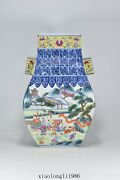 14china Antique Qing Dynasty Qianlong Blue And White Baby Play Pattern Vase