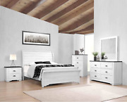New Weathered White Rustic Farmhouse Industrial 5pc Sleigh Bedroom Set B/d/m/n/c