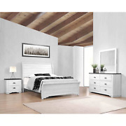 New Weathered White Rustic Farmhouse Industrial 4pc Sleigh Bedroom Set B/d/m/n
