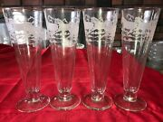 4 Perry Coyle Signed Etched Running Horse Footed Pilsner Beer Glass 14oz 9 Tall