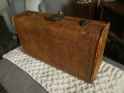 Antique Fujian Chinese Woven Rattan Covered Suitcase Trunk