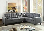 Gray Linen Contemporary Living Room Furniture Plastic Tapered Leg Sectional Sofa