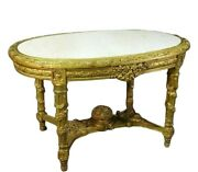 Antique Table, Center, Louis Xvi Giltwood Carved Wood Marble Top French Table