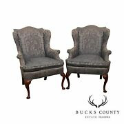 Hickory Chair Mahogany Queen Anne Style Pair Wing Chairs, Frames