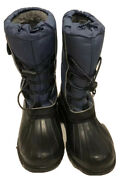 Youths Campbell Canada Made Blue Winter Snow Boots W Side Pockets Size 4g