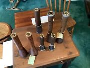 7 Antique Candlesticks Made From Wooden Spool Bobbins...nwt...see Description
