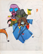 Richard Lindner, Ny Men Fun City, Lithograph, Signed And Numbered In Pencil