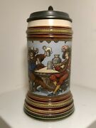 Mettlach Stein 2231, 0.5l, Etched, Inlaid Lid, Music Box Base, Mint