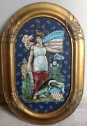 Antique Large Patriotic Flag Lady Liberty Die Cut In Gold Frame