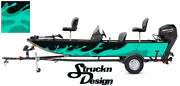 Teal Graphic Pontoon Wrap Water Splash Fishing Abstract Bass Boat Decal Vinyl Us