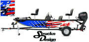 Pontoon Wrap Fishing Abstract Graphic American Flag Bass Boat Decal Vinyl Us Usa
