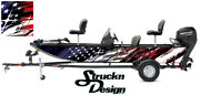 Pontoon Wrap Fishing Abstract Graphic Distressed American Flag Boat Decal Vinyl