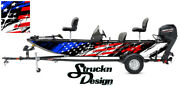 Pontoon Wrap Fishing Abstract American Flag Graphic Distressed Boat Decal Vinyl