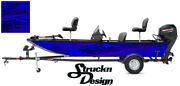 Pontoon Wrap Blue Dark Waves Fishing Abstract Graphic Bass Boat Decal Vinyl Us