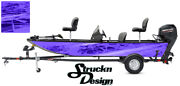 Pontoon Wrap Dark Blue Waves Fishing Abstract Graphic Bass Boat Decal Vinyl Us
