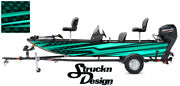 Pontoon Wrap Teal Modern Lines Fishing Abstract Graphic Bass Boat Decal Vinyl