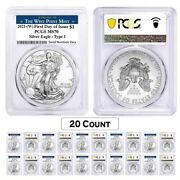 Lot Of 20 - 2021 W 1 Oz Silver American Eagle Coin Pcgs Ms 70 Fdoi West Point