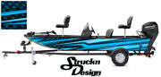 Blue Pontoon Wrap Modern Lines Fishing Abstract Graphic Bass Boat Decal Vinyl Us