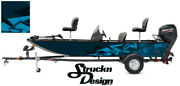 Pontoon Wrap Modern Shape Blue Fishing Abstract Graphic Bass Boat Decal Vinyl Us