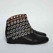 Alaia Women Studded Ankle Boots Wedge Heels Round Toe Booties Size Eu 38 Us 7